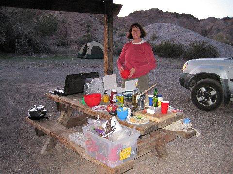 Andrea Halligan is all set for dinner in Picacho State Park.