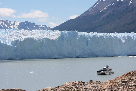 The face (terminus) of the Perito Moreno Glacier more than 200 feet above the water.