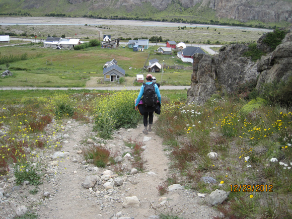 Andrea heading down to El Chalten at the end of a day's hike.
