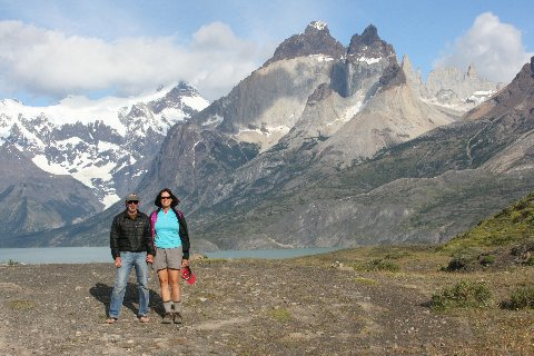 William and Andrea Halligan in Paine National Park in the Magallanes region of Chile.