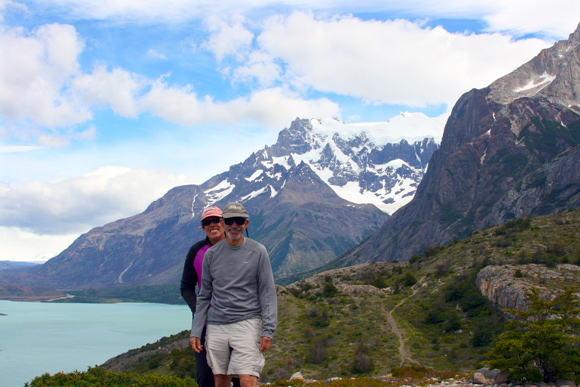 "Andrea and William Halligan hike the ""W"" on a recent visit to Chile."