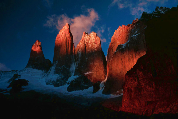The three towers (Torres) of Paine. Photo courtesy Winky under a Creative Commons license.
