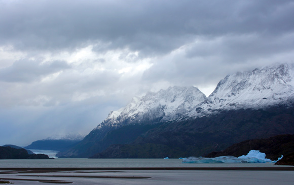 View from our hotel window. A rainy Gray Lake, Gray Glacier and icebergs.