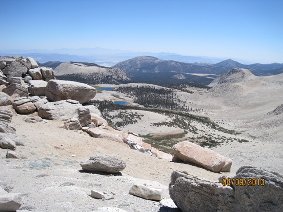 Looking east from New Army Pass. Long Lake and High Lake are just below and the Owens Valley in the distance.