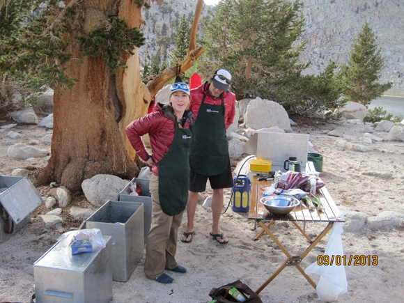 Jess and Aaron getting ready to cook. All food was transported in those aluminum bear proof boxes.
