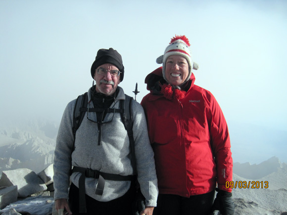Andrea and me on the summit of Mt. Whitney 14,505 feet.