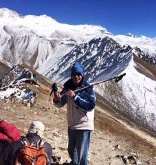 Happy Halligan on top of Mt. Kyanjin.