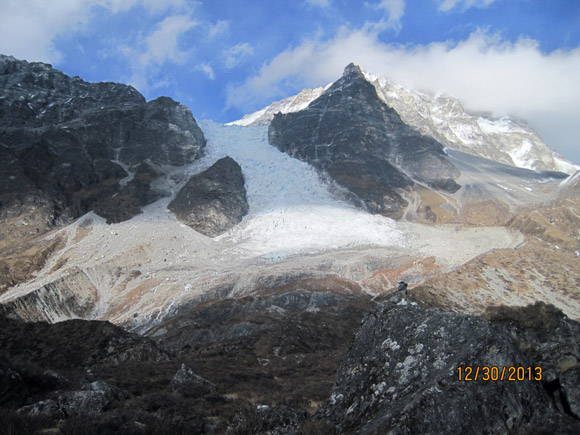 Glacier flowing off Mt. Lang Tang.