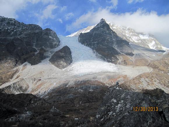 Glacier flowing off Mt. Lang Tang.