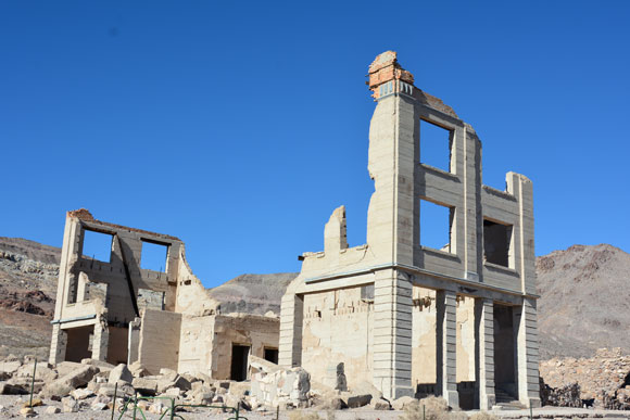 Today, this is all that's left of Rhyolite's bank building.