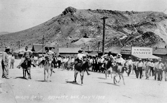 Burro race, Rhyolite, Nevada, July 4, 1908. Photo courtesy Orange County Archives.