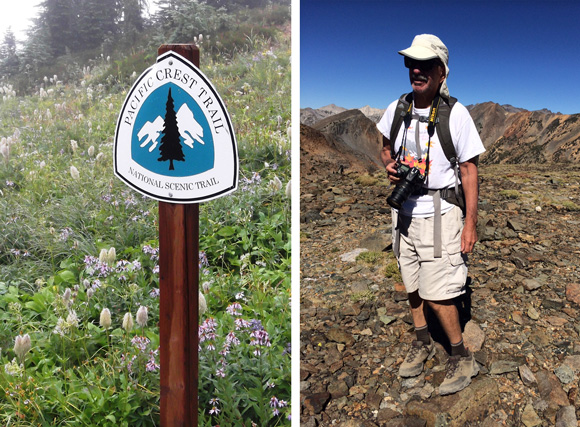 William Halligan on Pacific Coast Trail in Sierra Nevada. Trail sign courtesy