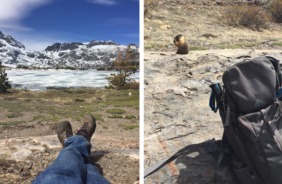 A boots-eye view of Thousand Island Lake while a marmot observes my backpack.