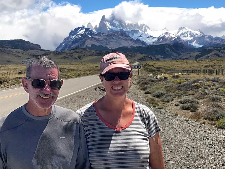 William and Andrea Halligan on the road with Mt. Fitzroy in the background.