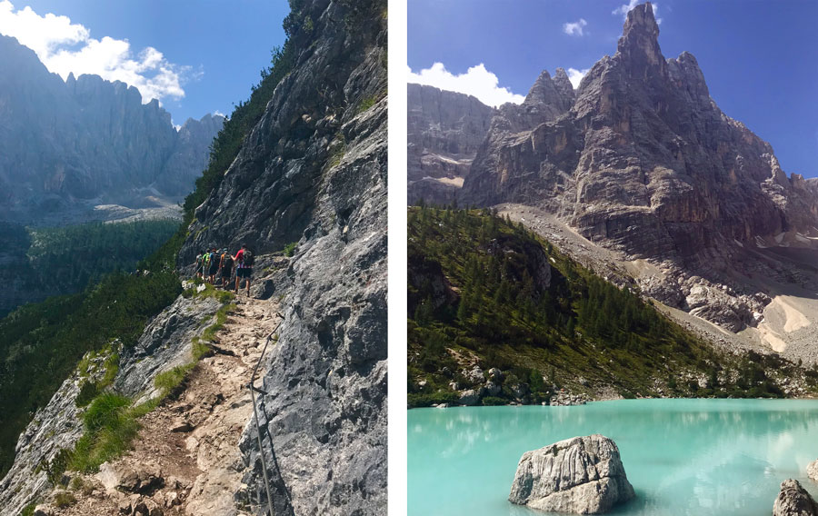 Left: Hiking in the Dolomites. Right: Lake Sorapis, near Cortina, Italy.